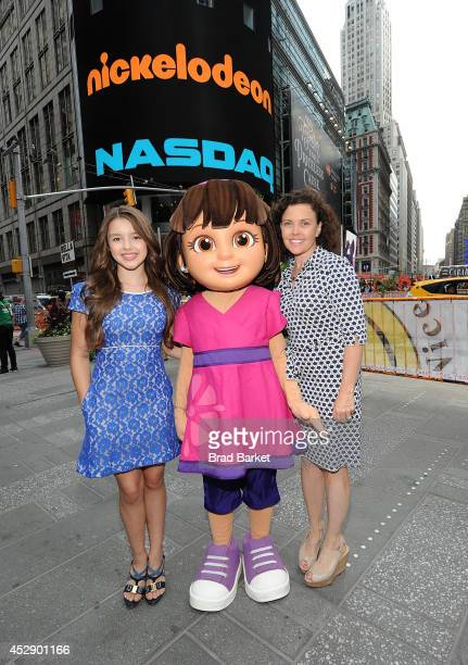Fatima Ptacek Dora and Executive Vice President of Production and Development Nickelodeon Preschool Teri Weiss pose for a photo at the NASDAQ Stock...
