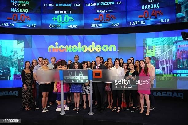 Fatima Ptacek Executive Vice President of Production and Development Nickelodeon Preschool Teri Weiss and Dora ring the NASDAQ Stock Market Closing...