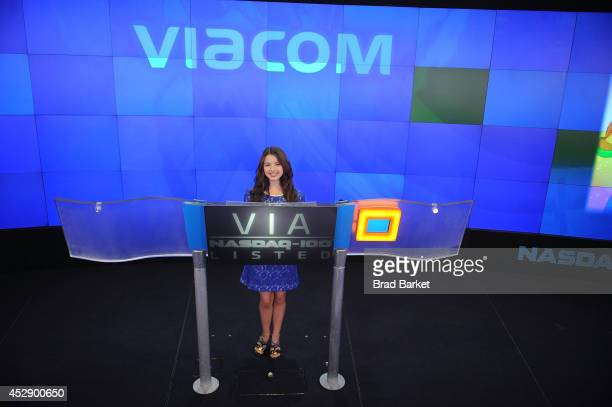 Fatima Ptacek rings the NASDAQ Stock Market Closing Bell in Times Square at NASDAQ on July 29 2014 in New York City
