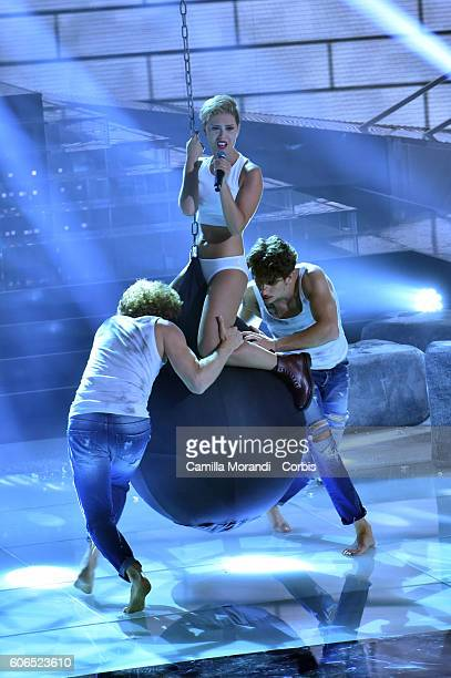 Fatima Trotta as Miley Cyrus attends 'Tale e Quale Show on September 16 2016 in Rome Italy