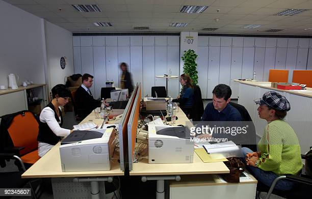 Fatma Cap visits the governmentrun employment agency 'Agentur fuer Arbeit' at the warehouse of German catalogue retailer Quelle on October 26 2009 in...