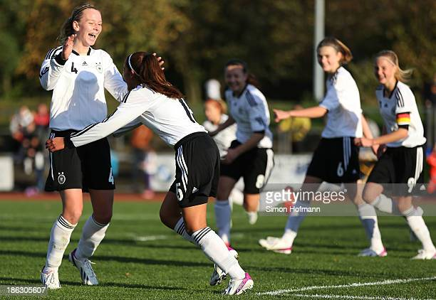 Fatma Sakar of Germany celebrates her team's fifth goal with team mates during the Girls U15 international friedly match between Germany and Scotland...