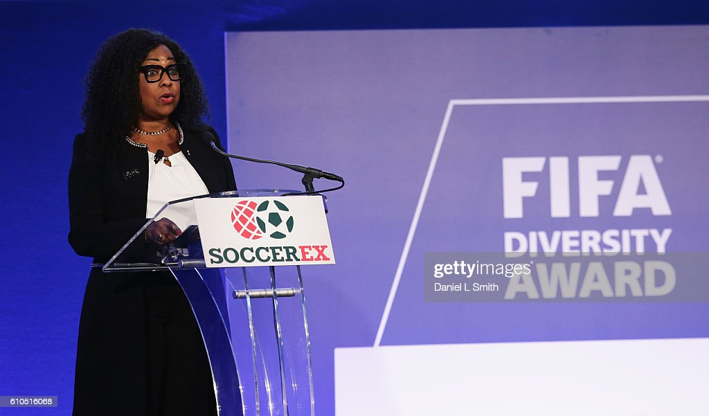 Fatma Samba Diouf Samoura, FIFA Secretary General talks during the first-ever FIFA Diversity Award presentation on day 1 of the Soccerex Global Convention 2016 at Manchester Central Convention Complex on September 26, 2016 in Manchester, England.