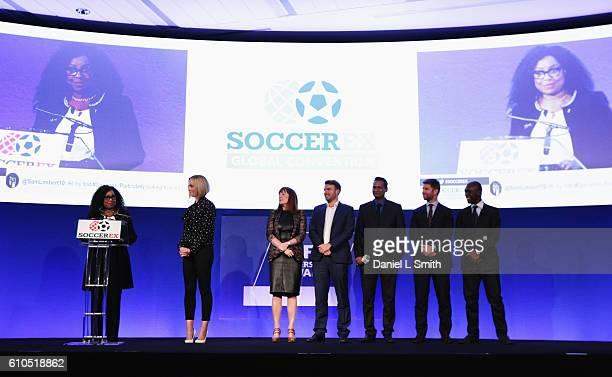 Fatma Samba Diouf Samoura FIFA Secretary General talks with Amanda Davies CNN International Sports presenter Roisin Woods from Kick It Out Ben Biggs...