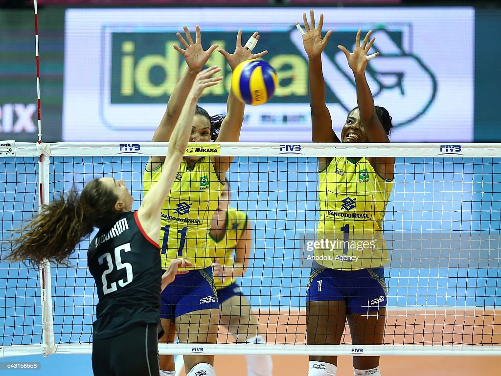 Fatma Yildirim (25) of Turkey in action during the 2016 FIVB Volleyball World Grand Prix Women's match between Turkey and Brazil at the TVF Baskent Sports Hall in Ankara, Turkey on June 26, 2016.
