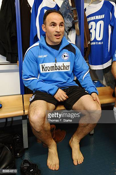 Fatmir Vata looks on prior the Ansgar Brinkmann Farewell Match at the Schueco Arena on March 27 2009 in Bielefeld Germany