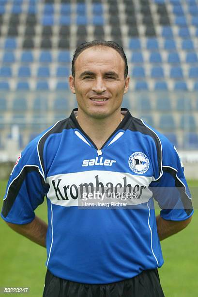 Fatmir Vata poses during the Team presentation of Arminia Bielefeld for the Bundesliga season 2005 2006 on June 29 2005 in Bielefeld Germany