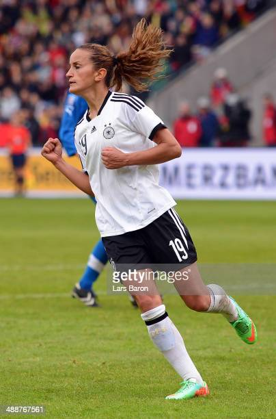 Fatmire Alushi of Germany celebrates after scoring his teams third goal during the FIFA Women's World Cup 2015 Qualifier between Germany and Slovakia...