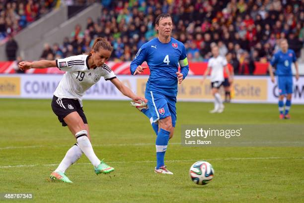 Fatmire Alushi scores his teams third goal during the FIFA Women's World Cup 2015 Qualifier between Germany and Slovakia at Osnatel Arena on May 8...