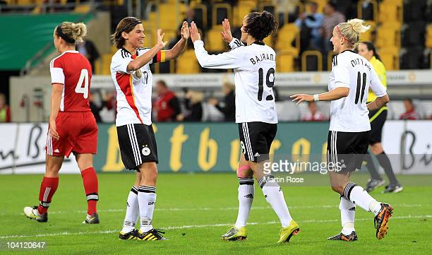 Fatmire Bajramaj of Germany celebrates after she scores her team's 2nd goal during the Women's International Friendly match between Germnay and...