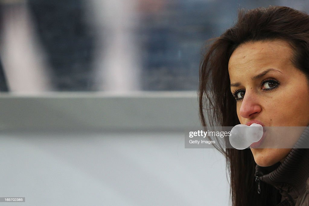 Fatmire Bajramaj of Germany makes bubbles with her chewing gum prior to the Women's International Friendly match between Germany and the United States at Sparda-Bank-Hessen-Stadion on April 5, 2013 in Offenbach, Germany.