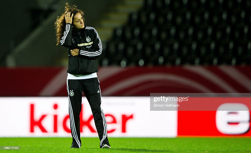 Fatmire Bajramaj of Germany reacts during a Germany training session at Volksbank Stadion on October 29, 2013 in Frankfurt am Main, Germany.