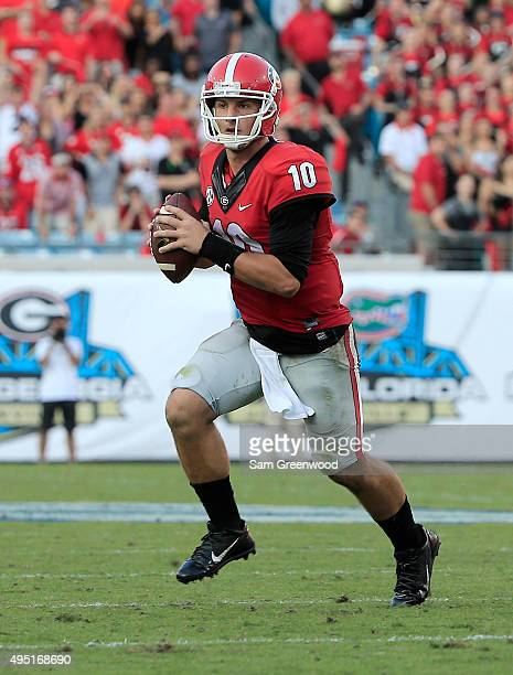 Faton Bauta of the Georgia Bulldogs attempts a pass during the game against the Florida Gators at EverBank Field on October 31 2015 in Jacksonville...