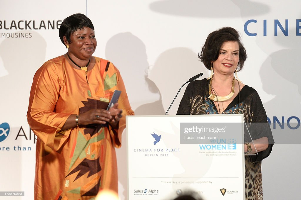 <a gi-track='captionPersonalityLinkClicked' href=/galleries/search?phrase=Fatou+Bensouda&family=editorial&specificpeople=802492 ng-click='$event.stopPropagation()'>Fatou Bensouda</a> and <a gi-track='captionPersonalityLinkClicked' href=/galleries/search?phrase=Bianca+Jagger&family=editorial&specificpeople=216047 ng-click='$event.stopPropagation()'>Bianca Jagger</a> attend the Cinema for Peace UN women honorary dinner at Soho House on July 12, 2013 in Berlin, Germany.