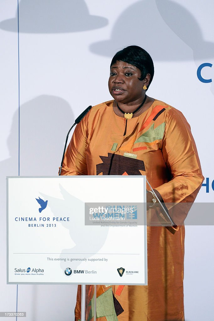 <a gi-track='captionPersonalityLinkClicked' href=/galleries/search?phrase=Fatou+Bensouda&family=editorial&specificpeople=802492 ng-click='$event.stopPropagation()'>Fatou Bensouda</a> attends the Cinema for Peace UN women honorary dinner at Soho House on July 12, 2013 in Berlin, Germany.
