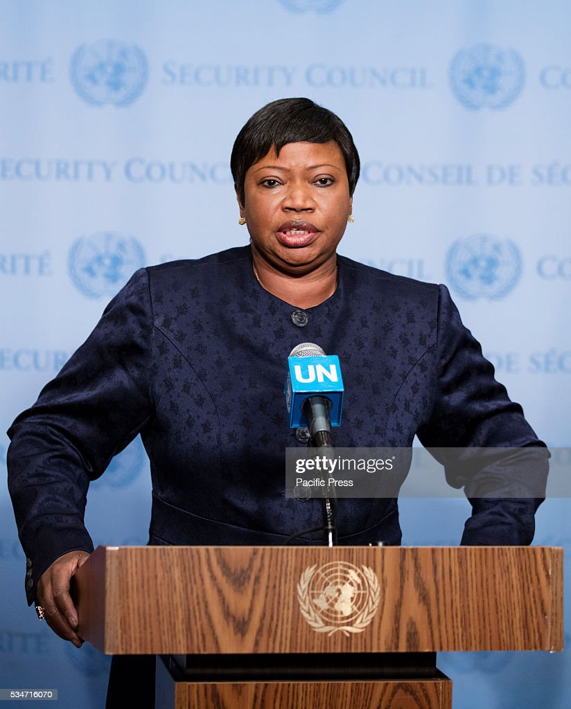 <a gi-track='captionPersonalityLinkClicked' href=/galleries/search?phrase=Fatou+Bensouda&family=editorial&specificpeople=802492 ng-click='$event.stopPropagation()'>Fatou Bensouda</a>, Prosecutor of the International Criminal Court (ICC), speaks to journalists after briefing the Security Council at its meeting on the situation in Libya today at the UN Headquarters in New York.