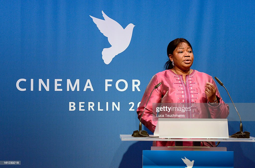 <a gi-track='captionPersonalityLinkClicked' href=/galleries/search?phrase=Fatou+Bensouda&family=editorial&specificpeople=802492 ng-click='$event.stopPropagation()'>Fatou Bensouda</a> speaks onstage during the Cinema For Peace Gala 2013 during the 63rd Berlinale International Film Festival at the Waldorf Astoria Hotel on February 9, 2013 in Berlin, Germany.