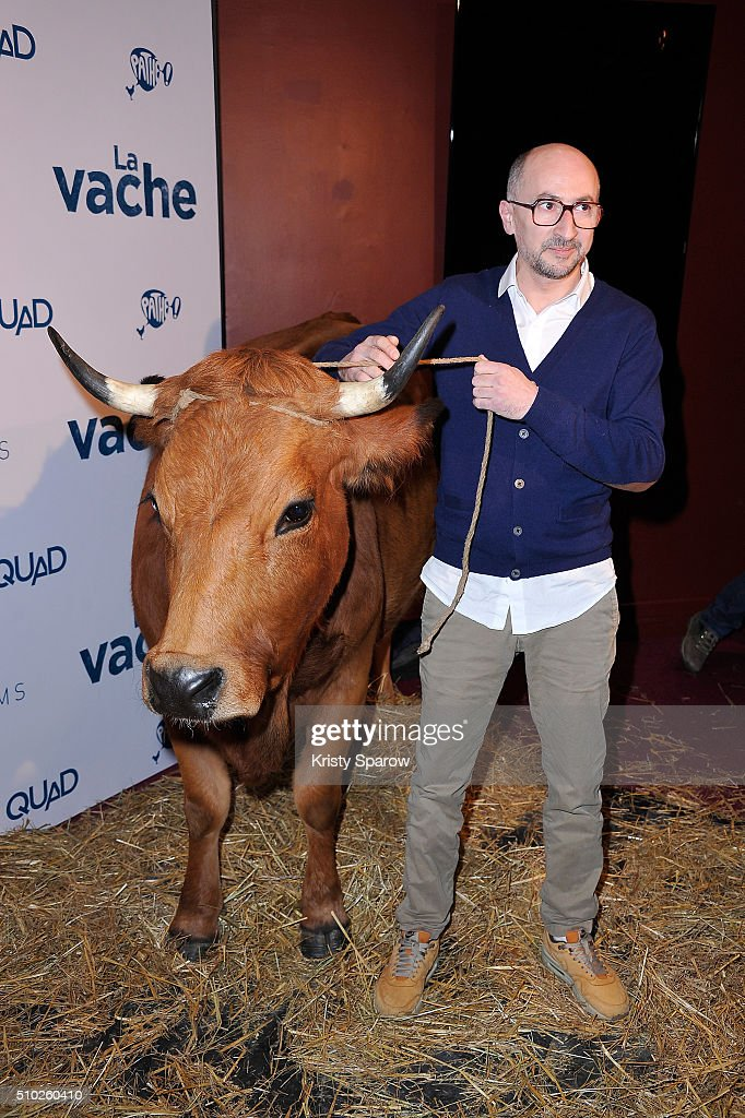 Fatsah Bouyahmed attends the 'La Vache' Paris Premiere at Pathe Wepler on February 14, 2016 in Paris, France.