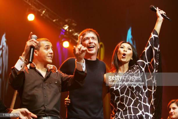 Faudel I Muvrini and Anggun during 'The 2006 Night of The Proms' at Nikaia in Nice France