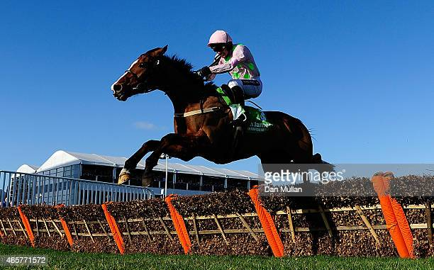 Faugheen ridden by Ruby Walsh clears the last and wins The Stan James Champion Hurdle Challenge Trophy during Day One of the Cheltenham Festival at...