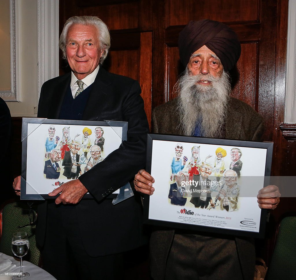 Fauja Singh (R) and <a gi-track='captionPersonalityLinkClicked' href=/galleries/search?phrase=Michael+Heseltine&family=editorial&specificpeople=238948 ng-click='$event.stopPropagation()'>Michael Heseltine</a> attend the Oldie of the Year Awards at Simpsons in the Strand on February 12, 2013 in London, England.