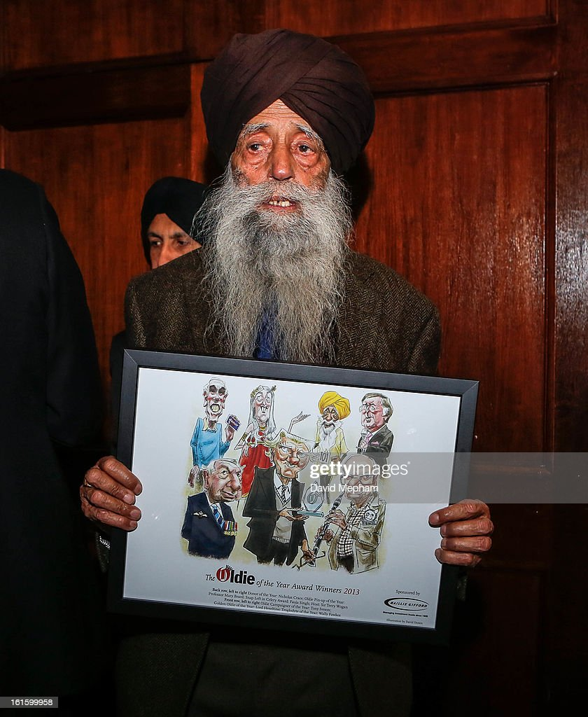 Fauja Singh attends the Oldie of the Year Awards at Simpsons in the Strand on February 12, 2013 in London, England.