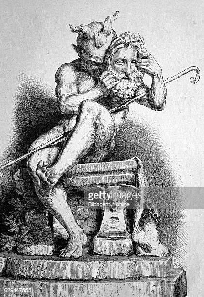Faun holding a zeus mask faunus the horned god of the forest plains and fields an ancient italian god of nature the protector of farmers and...