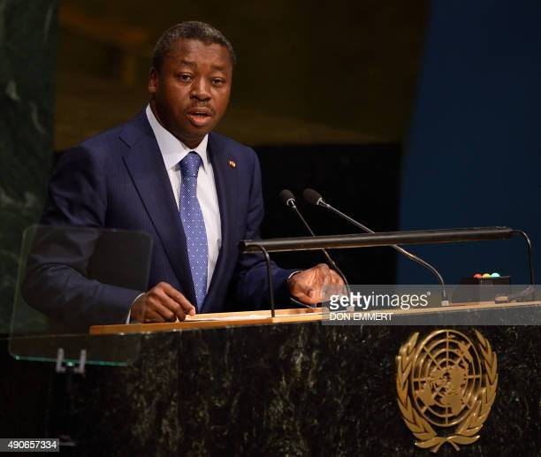 Faure Essozimna Gnassingbé President of Togo addresses to the 70th session of the United Nations General Assembly September 30 2015 at the United...