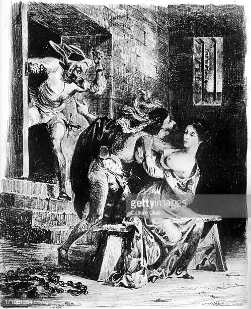 Faust by Goethe Gretchen repels Faust who seeks to rescue her from prison Illustration by Eugene Delacroix Printed 1828 Paris German poet novelist...