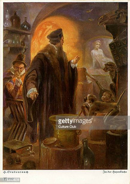 Faust by Johann Wolfgang von Goethe German writer and philosopher 28 August 1749 – 22 March 1832 Illustration of Faust with Mephisto in the witch's...