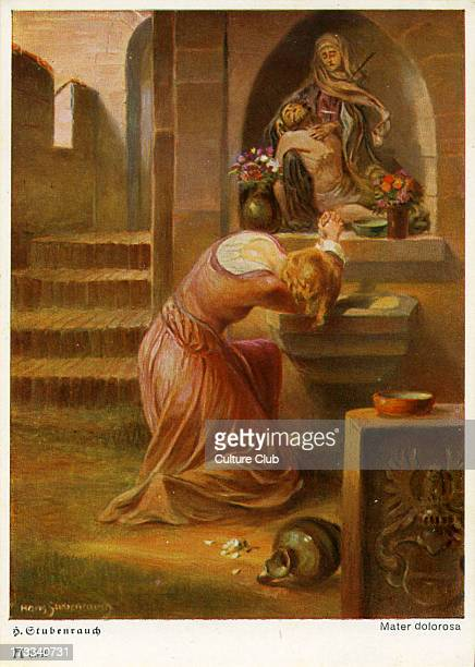 Faust by Johann Wolfgang von Goethe German writer and philosopher 28 August 1749 – 22 March 1832 Illustration of Gretchen praying at a shrine by Hans...