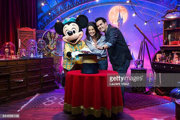 Faustine Bollaert and Maxime Chattam attend the new show of Disneyland Paris 'Mickey et le Magicien' at Disneyland Paris on July 2 2016 in Paris...