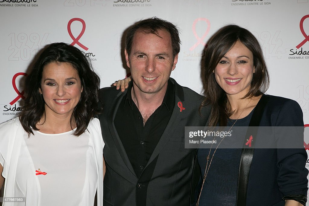 Faustine Bollaert, Jean-Philippe Doux and Marie-Ange Casalta attend the 'Sidaction 20th Anniversary' at Musee du Quai Branly on March 10, 2014 in Paris, France.