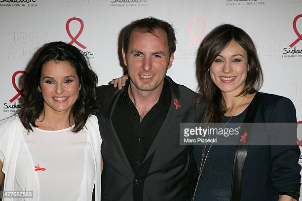 Faustine Bollaert JeanPhilippe Doux and MarieAnge Casalta attend the 'Sidaction 20th Anniversary' at Musee du Quai Branly on March 10 2014 in Paris...