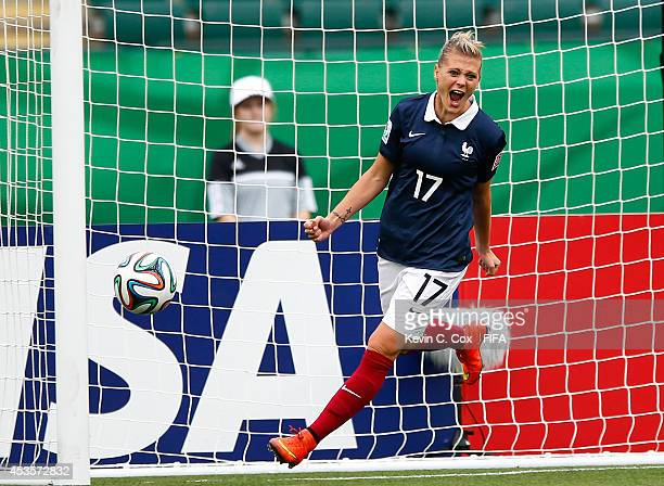 Faustine Robert of France celebrates her second goal against Paraguay during the FIFA U20 Women's World Cup Canada 2014 Group D match between...