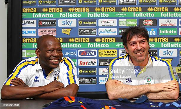 Faustino Asprilla and Alessandro Melli attend the Parma FC press conference for the unveiling of the commemorative shirt for the 20th anniversary of...