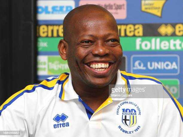 Faustino Asprilla attends the Parma FC press conference for the unveiling of the commemorative shirt for the 20th anniversary of the victory of the...