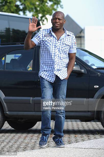 Faustino Asprilla visits his former club as FC Parma players and staff prepare to depart for their preseason training camp in Levico Terme on July 11...