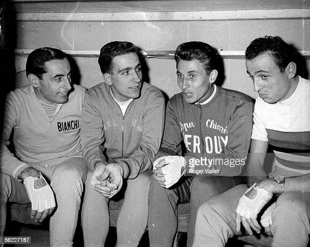 Fausto Coppi Italian racing cyclist Roger Riviere and Jacques Anquetil French racing cyclists and Ercole Baldini Italian racing cyclist during the...