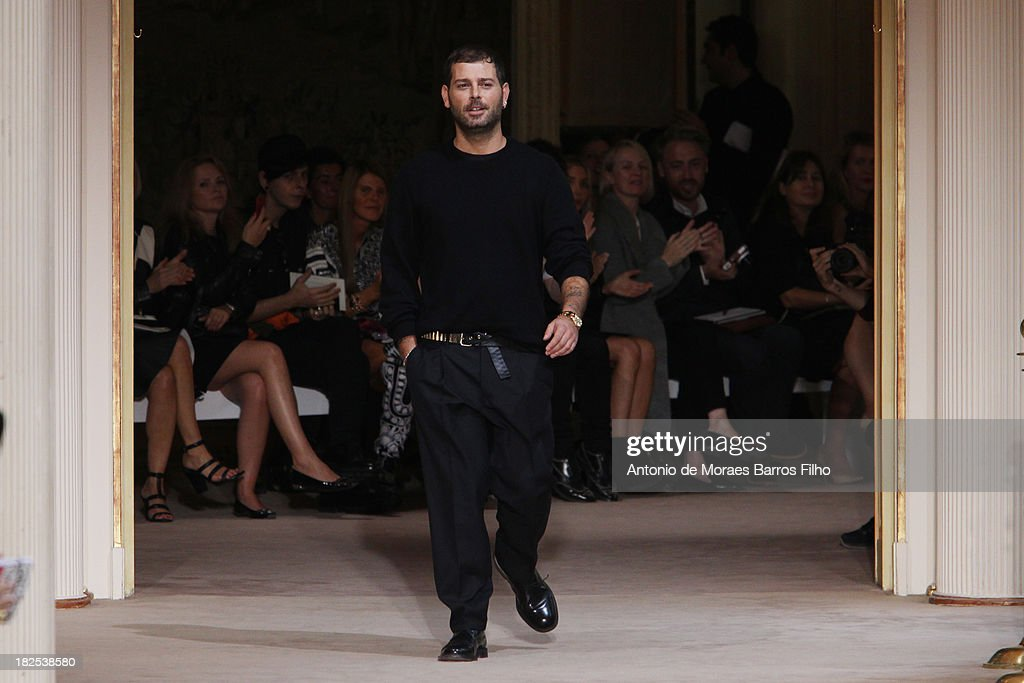 Fausto Puglisi walks the runway during Emanuel Ungaro show as part of the Paris Fashion Week Womenswear Spring/Summer 2014 on September 30, 2013 in Paris, France.