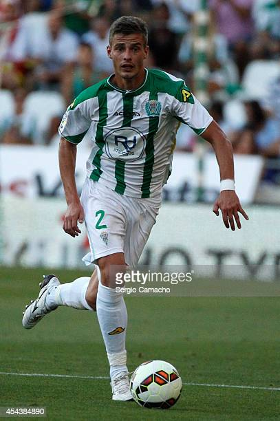 Fausto Rossi of Cordoba CF controls the ball during the La liga match between Cordoba CF and RC Celta de Vigo at El Arcangel studium on August 30...
