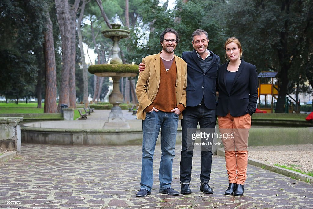 Fausto Sciarappa, Ivan Cotroneo and Lucia Mascino attend the 'Una Mamma Imperfetta' photocall at Tree Bar on February 5, 2013 in Rome, Italy.