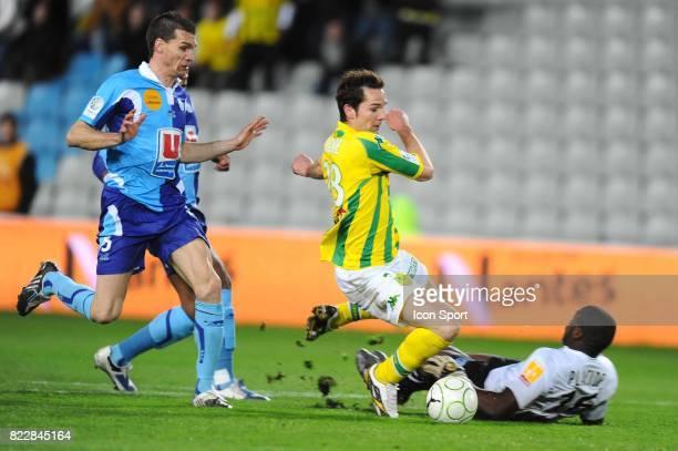Faute de PLACIDE sur Kevin LEJEUNE Nantes / Le Havre 31eme journee de Ligue 2 Stade de la Beaujoire Nantes