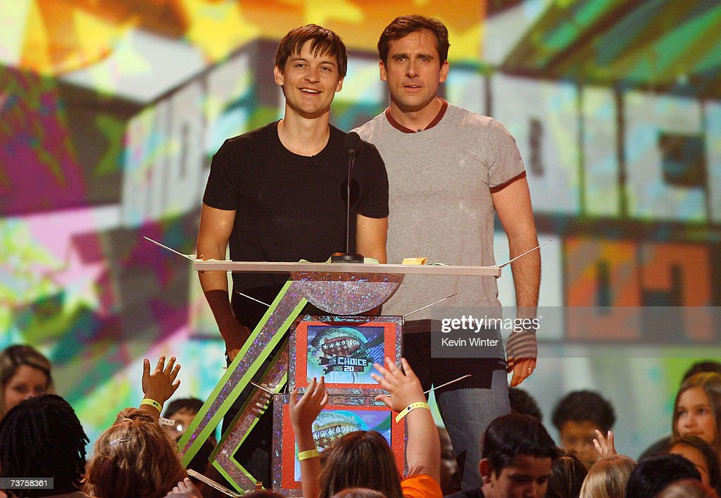 'Favorite Animated Movie' award presenters Tobey Maguire and Steve Carell onstage during the 20th Annual Kid's Choice Awards held at the UCLA Pauley...