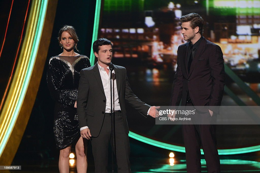 Favorite Movie Winner, 'The Hunger Games' stars Jennifer Lawrence, Josh Hutcherson, and Liam Hemsworth during The PEOPLE'S CHOICE AWARDS, the only major awards show where fans determine the nominees and winners across categories of movies, music and television, will air live from the Nokia Theater L.A. Live on Wednesday, Jan. 9, 2013 (9:00-11:00 PM, ET/delayed PT) on the CBS Television Network.