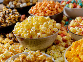Favorite popcorn toppings, Butter, Cheddar, Smores, Caramel, Candied, Hot and Spicy and Chocolate Peanut