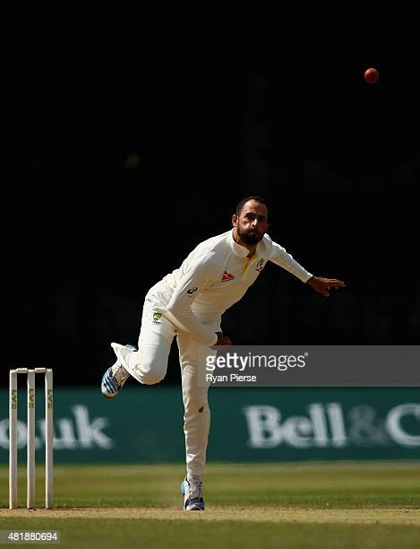 Fawad Ahmed of Australia bowls during day three of the Tour Match between Derbyshire and Australia at The 3aaa County Ground on July 25 2015 in Derby...