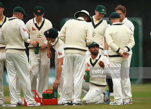 Fawad Ahmed of Australia takes a drink during day two of the Tour Match between Derbyshire and Australia at The 3aaa County Ground on July 24 2015 in...