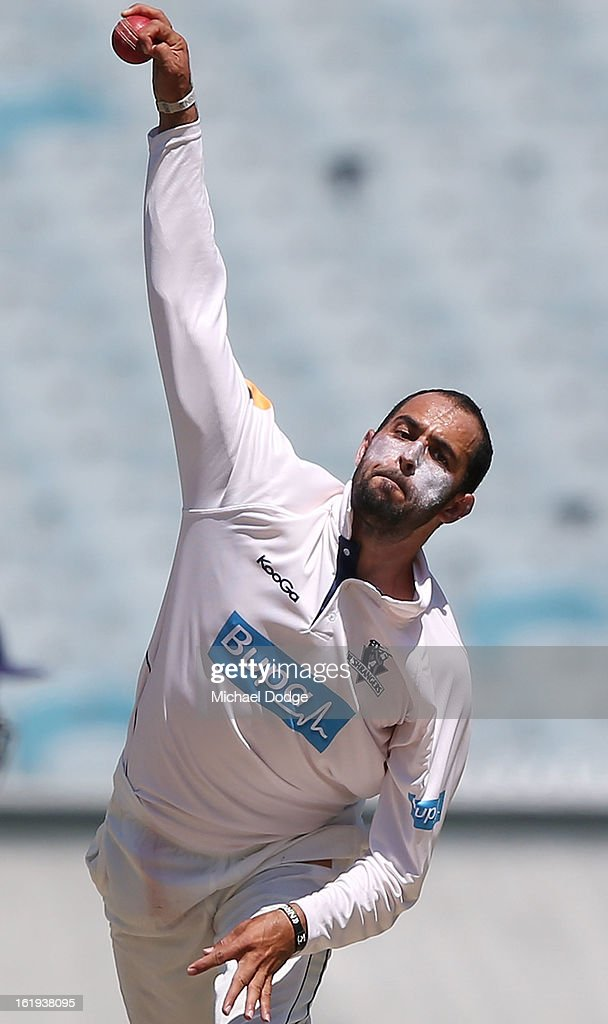 Fawad Ahmed of the Bushrangers bowls during day one of the Sheffield Shield match between the Victorian Bushrangers and the Queensland Bulls at Melbourne Cricket Ground on February 18, 2013 in Melbourne, Australia.