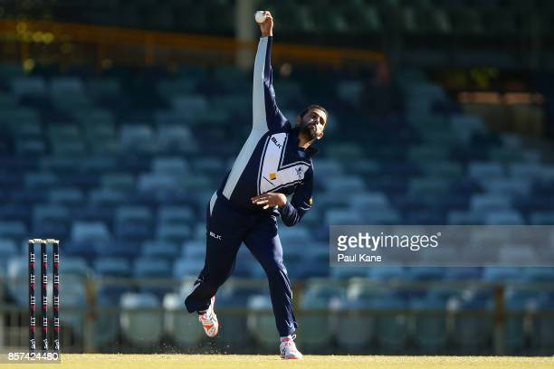 Fawad Ahmed of the Bushrangers bowls during the JLT One Day Cup match between Victoria and Tasmania at WACA on October 4 2017 in Perth Australia